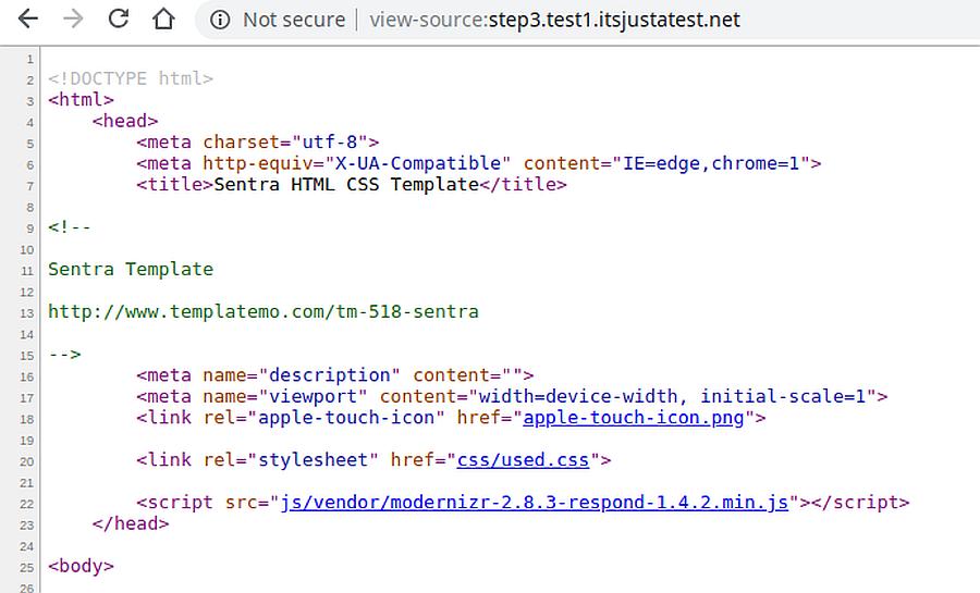 kod źródłowy strony z prawdiłowym CSS