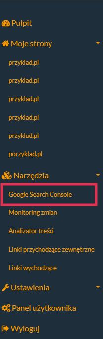 Google Search Console wybrane na lewym sidebarze