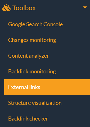 external links in the toolbox