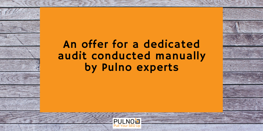 An offer for a manual SEO audit