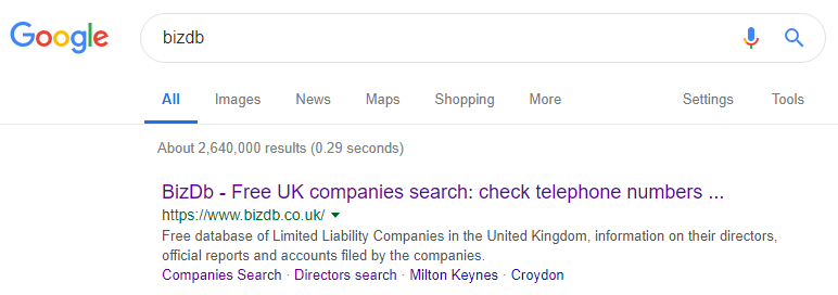 search results of bizdb in Google