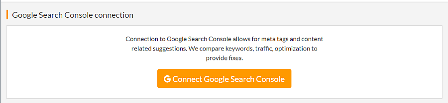 orange button to connect with Google Search Console