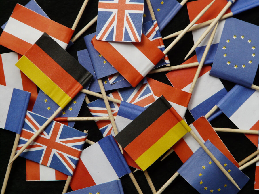 Paper flags of European Union, Great Britain, Germany, Austria