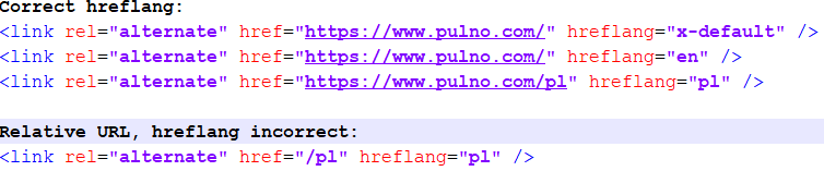 correct and incorrect hreflang setting