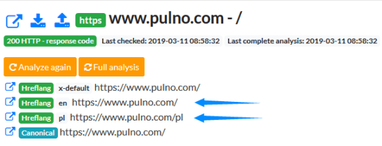 canonical and hreflang parameters shown in Pulno analysis
