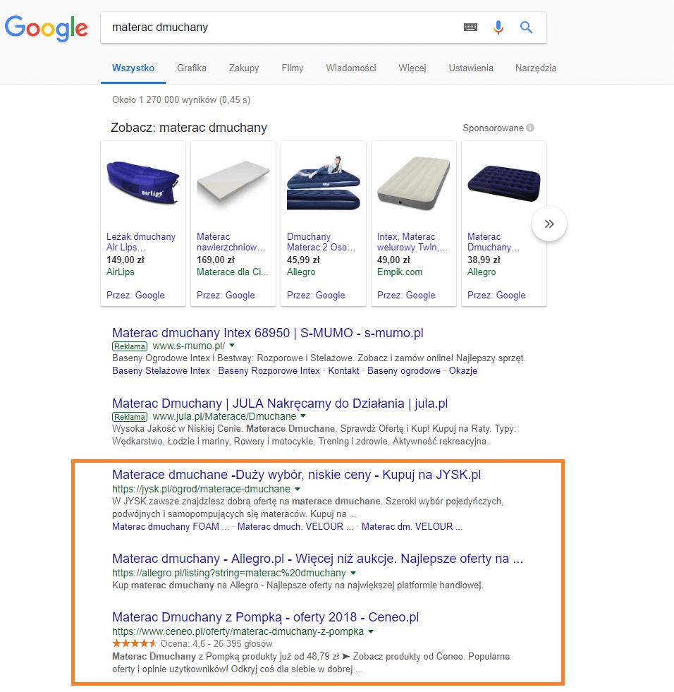 wyniki wyszukiwania frazy materac dmuchany w Google