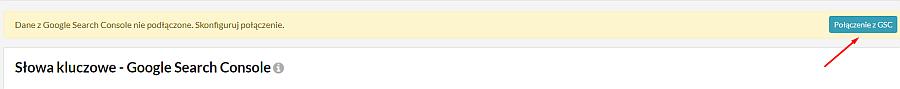 niebieski przycisk do podłączenia Google Search Console