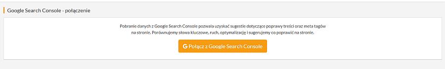 pomarańczowy przycisk do połączenia się z Google Search Console