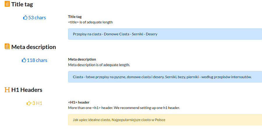 Analysis of meta description, title, h1 on page