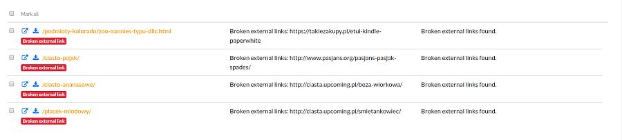 broken external links report