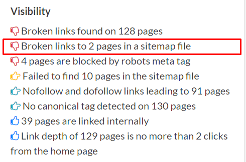 information about broken links in sitemap