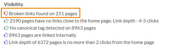 information about broken links on sidebar