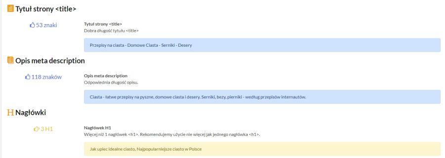 dane dotyczące tytułu, meta opisu i nagłówka danej podstrony