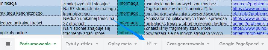 wskazanie na konkretną zakładkę w Google docs